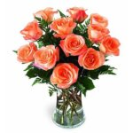 1 DZ ORANGE ROSES IN VASE
